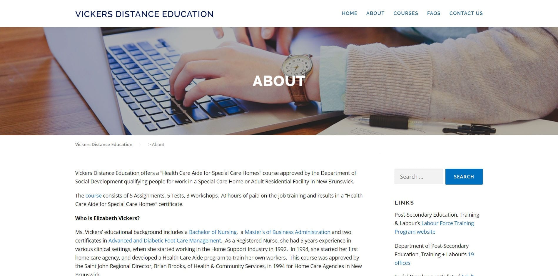 Vickers Distance Educaiton About - Supported by Eagle Digital Media